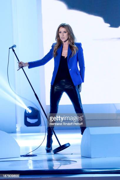 Singer Celine Dion performs at 'Vivement Dimanche' French TV Show held at Pavillon Gabriel on November 13 2013 in Paris France
