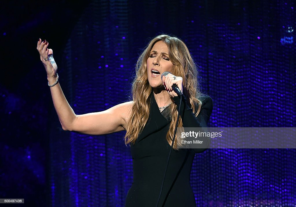 Singer <a gi-track='captionPersonalityLinkClicked' href=/galleries/search?phrase=Celine+Dion&family=editorial&specificpeople=202973 ng-click='$event.stopPropagation()'>Celine Dion</a> performs during 'Sinatra 100: An All-Star GRAMMY Concert' celebrating the late Frank Sinatra's 100th birthday at the Encore Theater at Wynn Las Vegas on December 2, 2015 in Las Vegas, Nevada. The show will air on CBS on December 6.