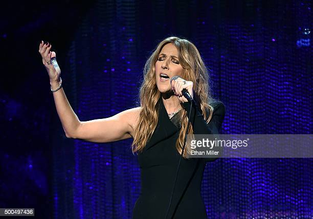 Singer Celine Dion performs during 'Sinatra 100 An AllStar GRAMMY Concert' celebrating the late Frank Sinatra's 100th birthday at the Encore Theater...