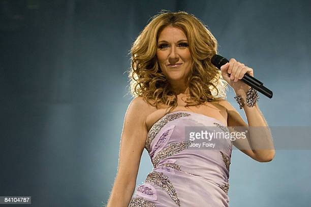 Singer Celine Dion performs during the 'Taking Chances' tour at the Conseco Fieldhouse on December 21 2008 in Indianapolis Indiana