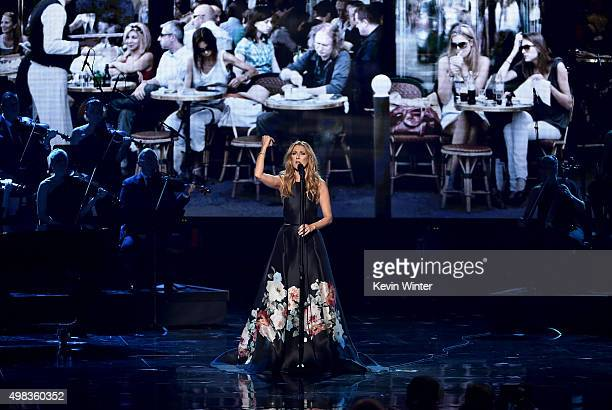 Singer Celine Dion performs onstage during the 2015 American Music Awards at Microsoft Theater on November 22 2015 in Los Angeles California