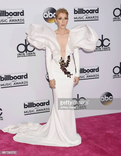 Singer Celine Dion poses in the press room at the 2017 Billboard Music Awards at TMobile Arena on May 21 2017 in Las Vegas Nevada