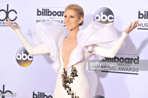 Singer Celine Dion poses in the press room during 2017 Billboard Music Awards at TMobile Arena on May 21 2017 in Las Vegas Nevada