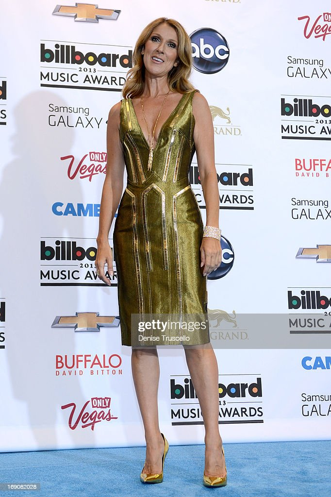 Singer Celine Dion poses in the press room during the 2013 Billboard Music Awards at the MGM Grand Garden Arena on May 19, 2013 in Las Vegas, Nevada.