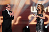 Singer Celine Dion receives from Prince Albert II of Monaco the Legend Award for Outstanding Contribution to Music during the 2007 World Music Awards...