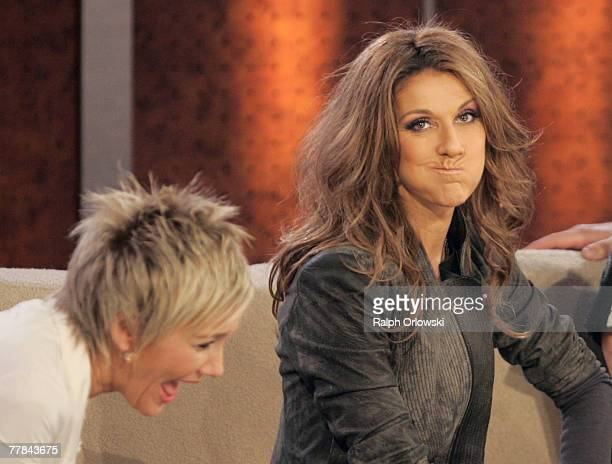 Singer Celine Dion sitting next to Inka Bause jokes during the livebroadcast of German TV show 'Wetten dass' at Leipzig Messehalle November 10 2007...