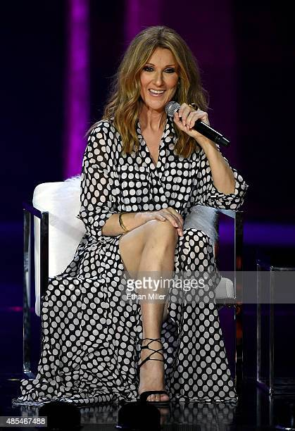 Singer Celine Dion speaks during a news conference at The Colosseum at Caesars Palace before resuming her residency on August 27 2015 in Las Vegas...