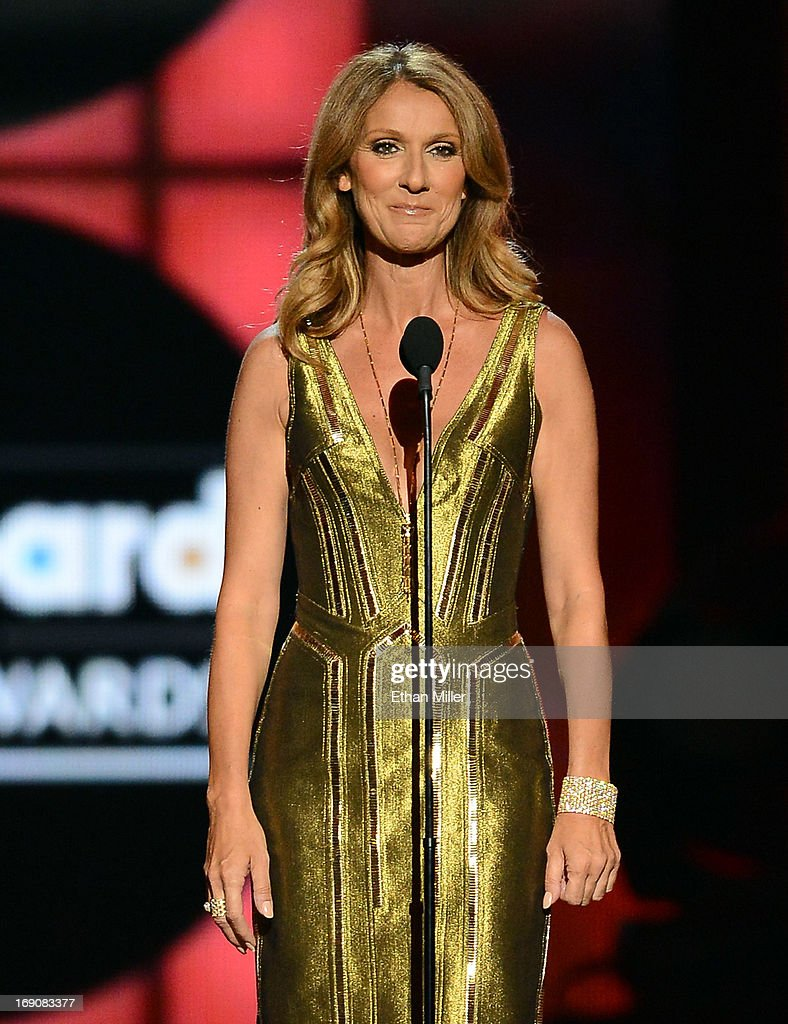 Singer Celine Dion speaks onstage during the 2013 Billboard Music Awards at the MGM Grand Garden Arena on May 19, 2013 in Las Vegas, Nevada.