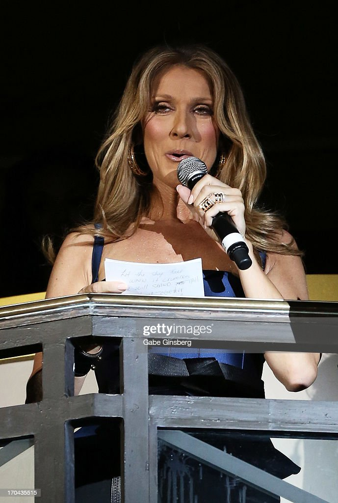 Singer Celine Dion talks at the closing night party for the U.S. Travel Association's International Pow Wow at the Garden of the Gods Pool at Caesars Palace on June 12, 2013 in Las Vegas, Nevada.
