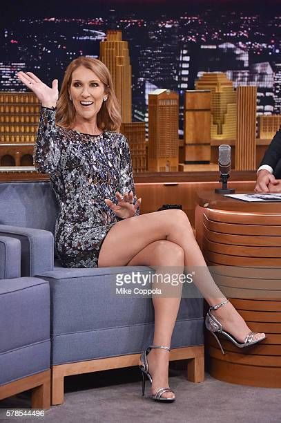 Singer Celine Dion visits 'The Tonight Show Starring Jimmy Fallon' at Rockefeller Center on July 21 2016 in New York City