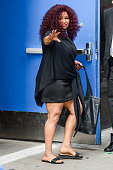 Singer Chaka Khan leaves the 'Good Morning America' taping at the ABC Times Square Studios on September 2 2015 in New York City