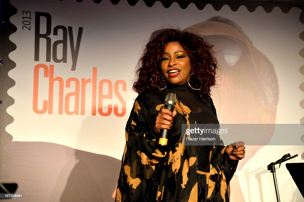 Singer Chaka Khan performs at The GRAMMY Museum on September 23, 2013 in Los Angeles, California. performs during the unveiling of the new Ray Charles stamp at the GRAMMY Museum in Los Angeles, Calif., on Monday, September 23, 2013. The limited-edition stamp is part of the Music Icons stamp series and is available for sale starting today, on what would have been his 83rd birthday, at post offices nationwide