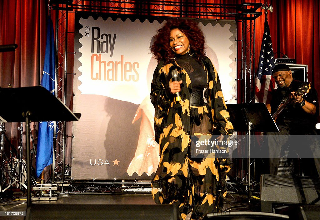 Singer <a gi-track='captionPersonalityLinkClicked' href=/galleries/search?phrase=Chaka+Khan&family=editorial&specificpeople=208691 ng-click='$event.stopPropagation()'>Chaka Khan</a> performs at The GRAMMY Museum on September 23, 2013 in Los Angeles, California. performs during the unveiling of the new Ray Charles stamp at the GRAMMY Museum in Los Angeles, Calif., on Monday, September 23, 2013. The limited-edition stamp is part of the Music Icons stamp series and is available for sale starting today, on what would have been his 83rd birthday, at post offices nationwide