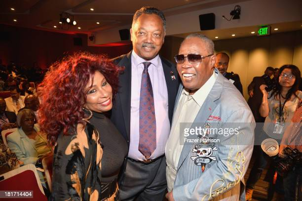 Singer Chaka Khan Reverend Jesse Jackson and singer Sam Moore attend the unveiling of the new Ray Charles stamp at the GRAMMY Museum in Los Angeles...