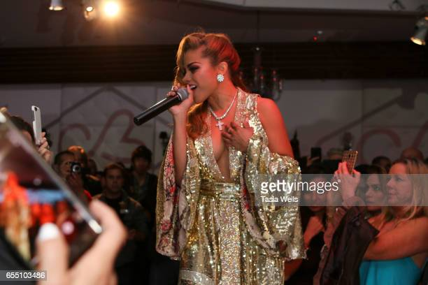 Singer Charisse Mills performs onstage at Art Hearts Fashion LAFW Fall/Winter 2017 at Le Jardin on March 18 2017 in Hollywood California