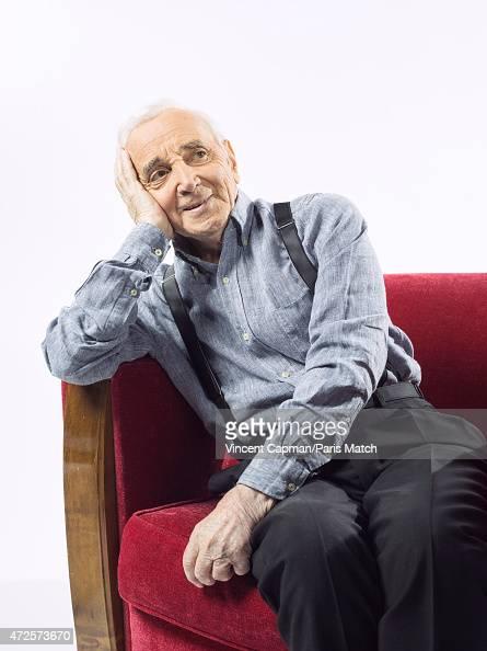 Singer Charles Aznavour is photographed for Paris Match on April 28 2015 in Paris France
