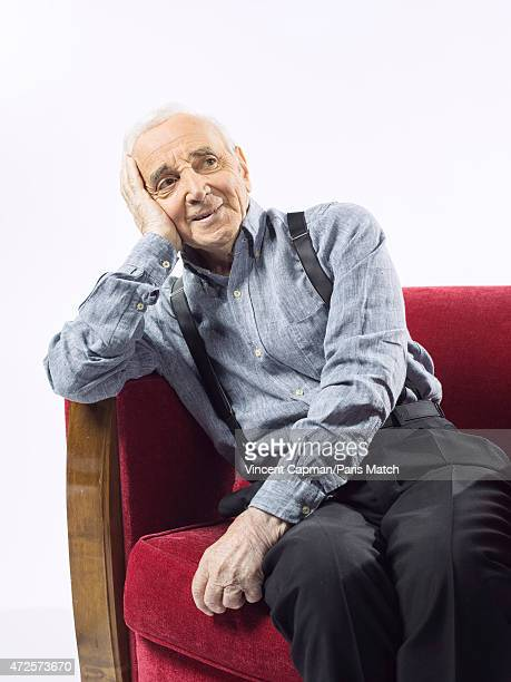 Singer Charles Aznavour is photographed for Paris Match on April 28 2015 in Paris France