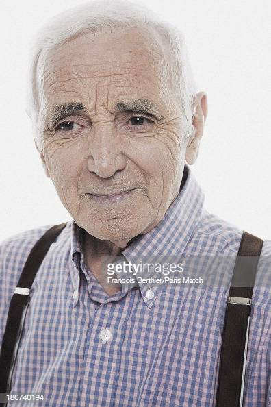 Singer Charles Aznavour is photographed for Paris Match on August 30 2013 in Paris France