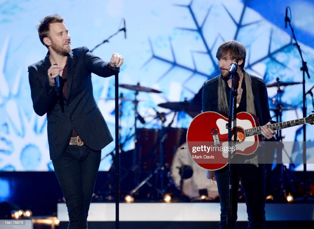 Singer Charles Kelley (L) and musician Dave Haywood of Lady Antebellum perform onstage during the 2012 American Country Awards at the Mandalay Bay Events Center on December 10, 2012 in Las Vegas, Nevada.