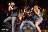 Singer Charles Kelley guitarist Dave Haywood and singer Hillary Scott of the band Lady Antebellum perform during the Academy of Country Music New...