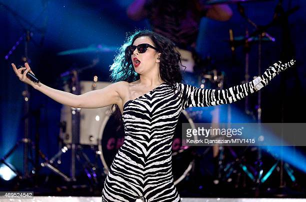 Singer Charli XCX performs onstage during The 2015 MTV Movie Awards at Nokia Theatre LA Live on April 12 2015 in Los Angeles California