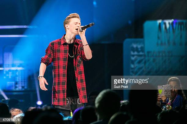 Singer Charlie Lenehan of Bars and Melody performs at Key Arena on April 23 2015 in Seattle Washington