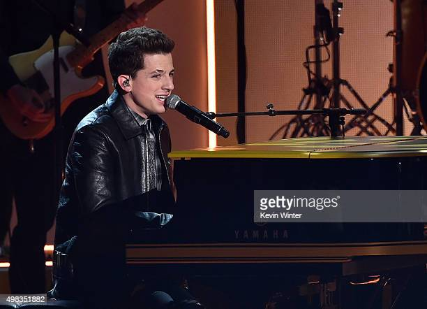 Singer Charlie Puth performs onstage during the 2015 American Music Awards at Microsoft Theater on November 22 2015 in Los Angeles California