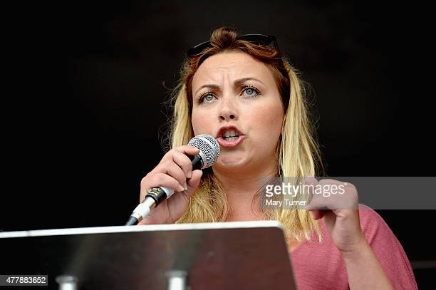 Singer Charlotte Church speaks to thousands of demonstrators gathered in Parliament Square to protest against austerity and spending cuts on June 20...
