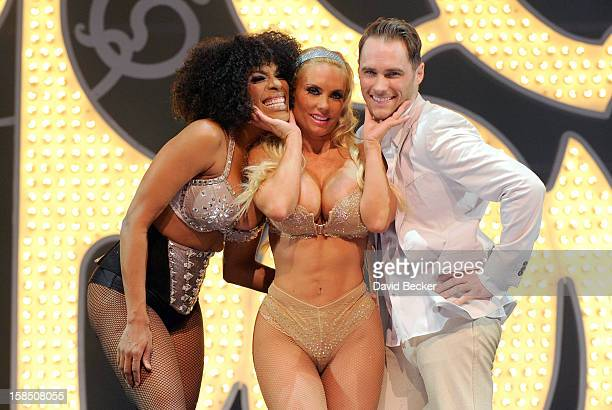 Singer Cheaza television personality Coco Austin and singer Josh Strickland appear on stage after Austin's opening night performance in 'Peepshow' at...