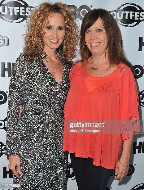 Singer Chely Wright and Outfest director Kirsten Schaffer arrive to the 2011 Outfest Special Screening of 'Wish Me Away' at Directors Guild Of...