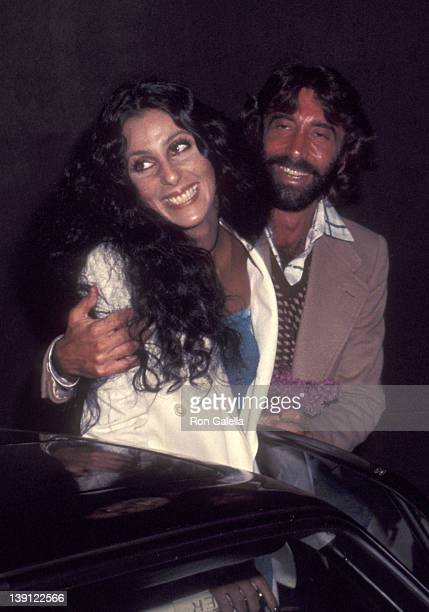 Singer Cher and celebrity manager Sandy Gallin attend Dolly Parton's Opening Night Performance on April 15 1977 at the Roxy Theatre in West Hollywood...