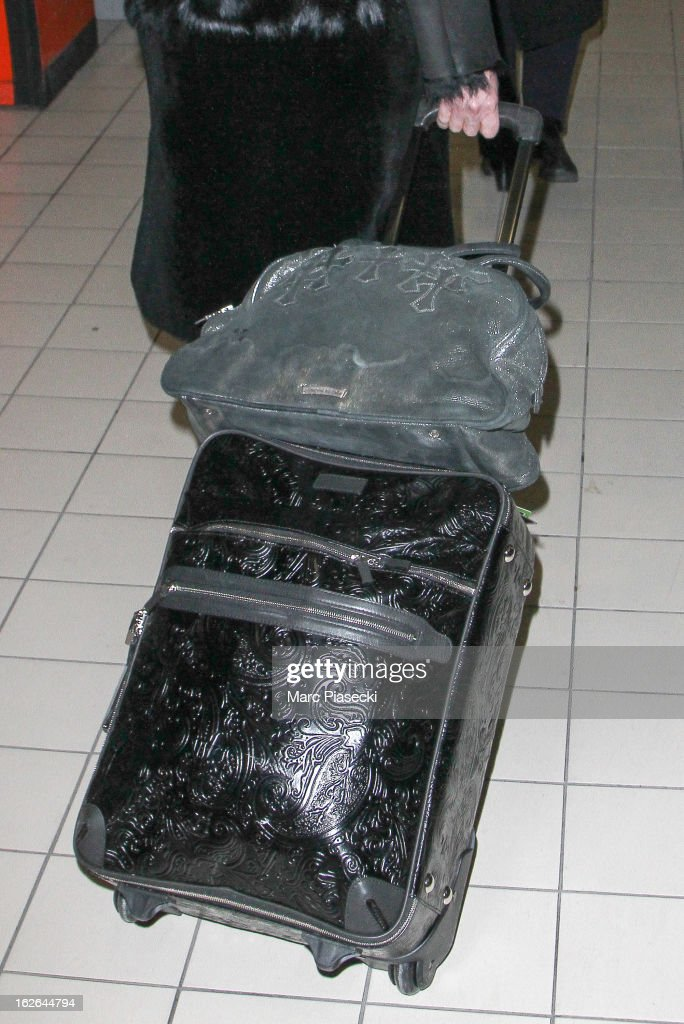 Singer Cher (luggage detail) is sighted at Aeroport Roissy - Charles de Gaulle on February 25, 2013 in Paris, France.