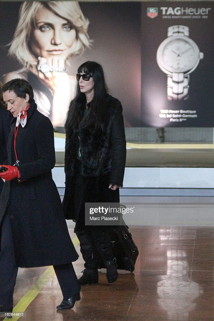 Singer Cher is sighted at Aeroport Roissy - Charles de Gaulle on February 25, 2013 in Paris, France.