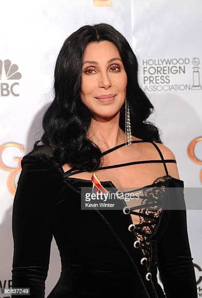 Singer Cher poses in the press room at the 67th Annual Golden Globe Awards held at The Beverly Hilton Hotel on January 17 2010 in Beverly Hills...