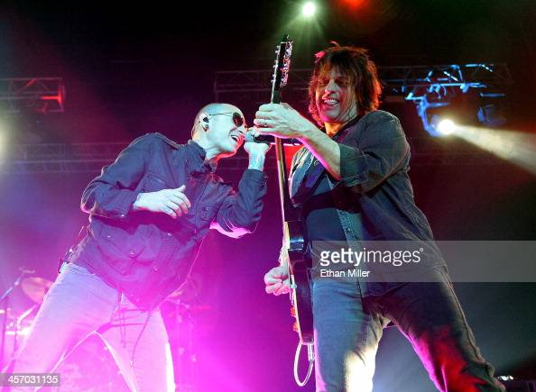 Singer Chester Bennington and guitarist Dean DeLeo of Stone Temple Pilots perform during KOMP'S Totally Politically Correct Holiday Bash at The Joint...