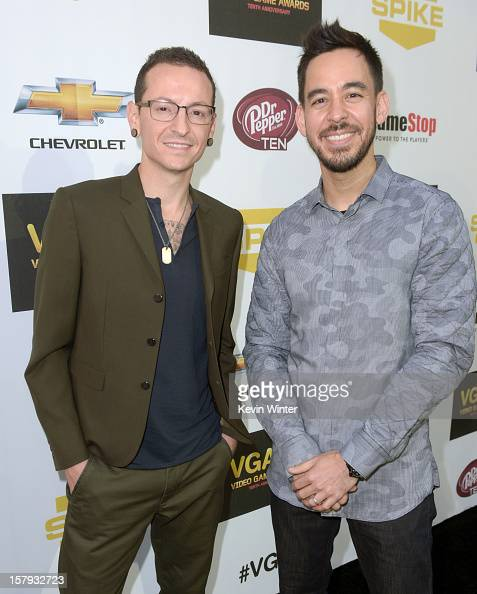 Singer Chester Bennington and musician Mike Shinoda of Linkin Park arrive at Spike TV's 10th annual Video Game Awards at Sony Pictures Studios on...