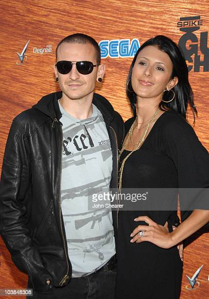 Singer Chester Bennington of Linkin Park and guest arrive at Spike TV's 2nd Annual 'Guy's Choice' Awards held at Sony Studios on May 30 2008 in...