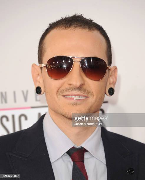 Singer Chester Bennington of Linkin Park attends the 40th American Music Awards held at Nokia Theatre LA Live on November 18 2012 in Los Angeles...