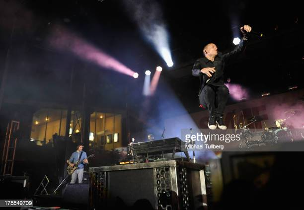 Singer Chester Bennington of Linkin Park performs live on the third day of the 6th Annual Sunset Strip Music Festival on August 3 2013 in West...
