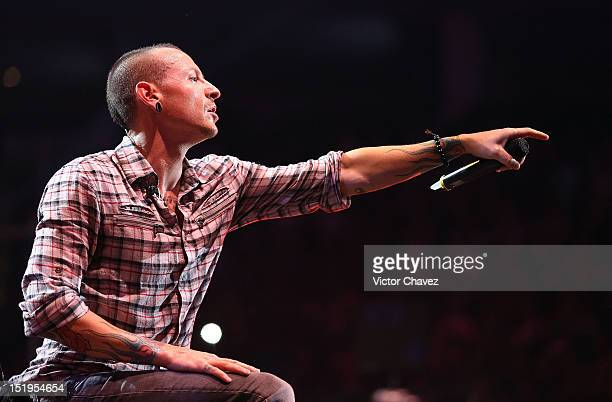 Singer Chester Bennington of Linkin Park performs onstage at the MTV World Stage Monterrey Mexico 2012 at Arena Monterrey on September 12 2012 in...