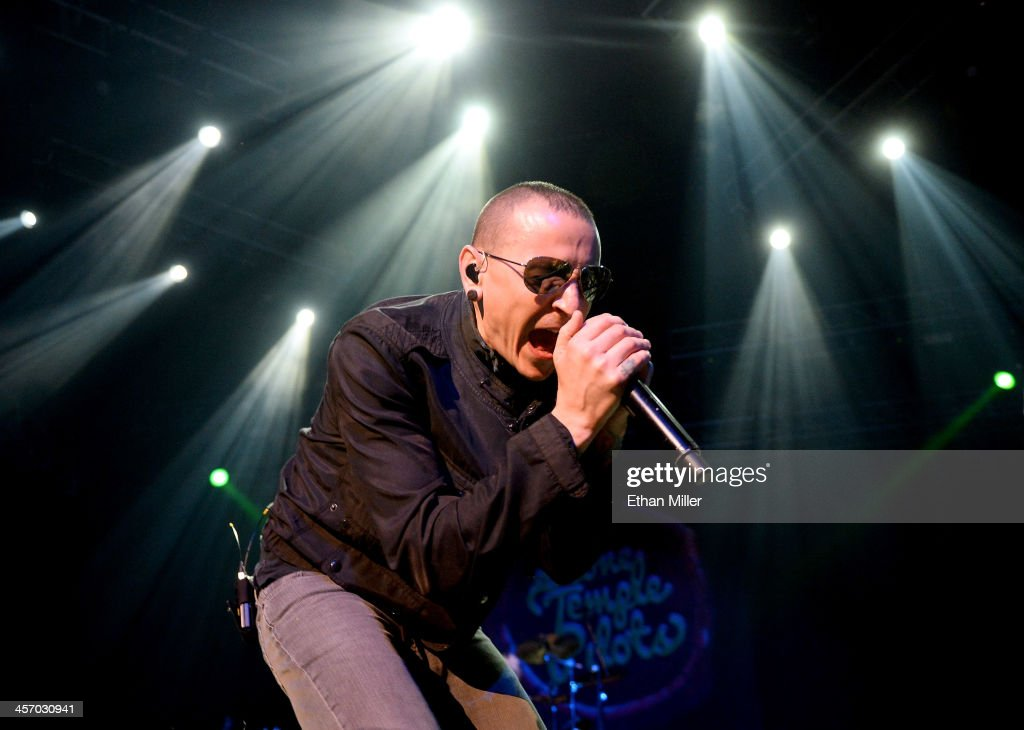 Singer <a gi-track='captionPersonalityLinkClicked' href=/galleries/search?phrase=Chester+Bennington&family=editorial&specificpeople=213970 ng-click='$event.stopPropagation()'>Chester Bennington</a> of Stone Temple Pilots performs during KOMP'S Totally Politically Correct Holiday Bash at The Joint inside the Hard Rock Hotel & Casino on December 15, 2013 in Las Vegas, Nevada.