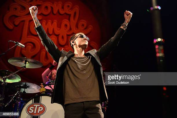 Singer Chester Bennington of Stone Temple Pilots performs onstage at House of Blues Sunset Strip on April 13 2015 in West Hollywood California