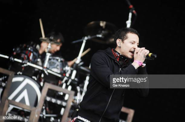 Singer Chester Bennington performing with American rock group Linkin Park at the Pinkpop Festival Landgraaf Netherlands 27th May 2007