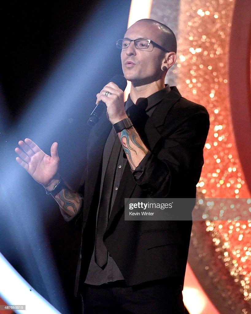 Singer Chester Bennington speaks onstage during the 2014 iHeartRadio Music Awards held at The Shrine Auditorium on May 1 2014 in Los Angeles...