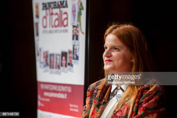 Singer Chiara being interviewed by journalist Gianni Poglio during the event 'Panorama d'Italia' Vicenza Italy 17th April 2015