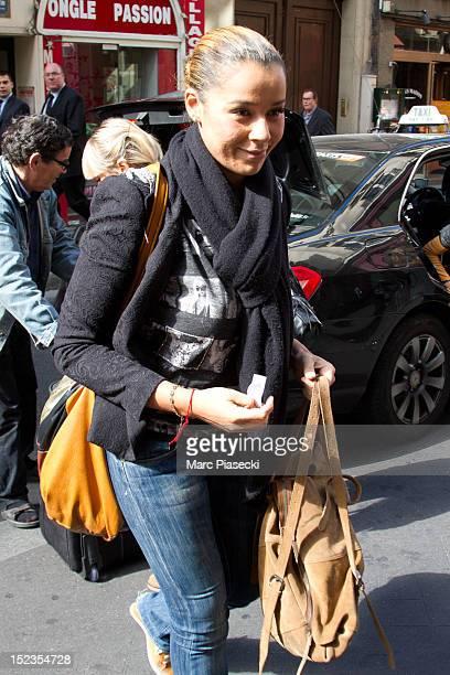 Singer Chimene Badi arrives at L'Olympia on September 19 2012 in Paris France