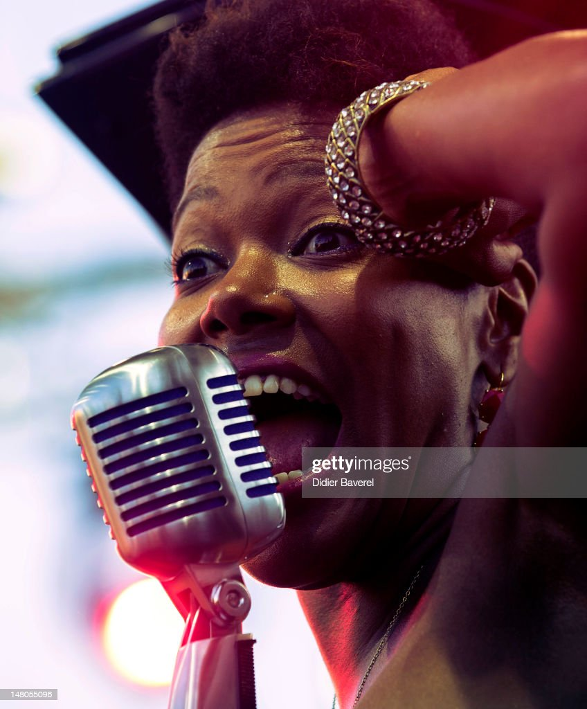 Singer China Moses, daughter of Dee Dee Bridgewater, performs on stage at Nice Jazz Festival at Jardin Albert 1er on July 8, 2012 in Nice, France.