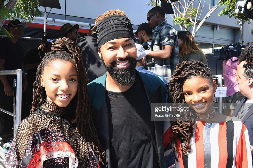 Singer Chloe Bailey, stylist <a gi-track='captionPersonalityLinkClicked' href=/galleries/search?phrase=Ty+Hunter&family=editorial&specificpeople=5909767 ng-click='$event.stopPropagation()'>Ty Hunter</a> and singer Halle Bailey attend the 2016 BET Awards at the Microsoft Theater on June 26, 2016 in Los Angeles, California.