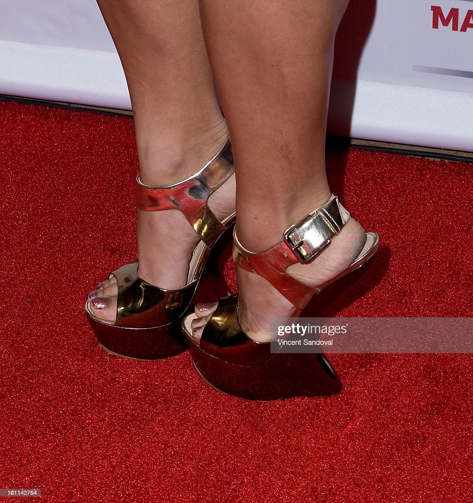 Singer Chloe Flower (shoe detail) attends VIBE Magazine's 20th anniversary celebration with inaugural impact awards - Arrivals at Sunset Tower on February 8, 2013 in West Hollywood, California.