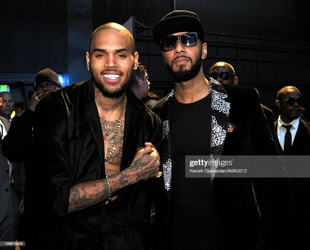 Singer Chris Brown and rapper <a gi-track='captionPersonalityLinkClicked' href=/galleries/search?phrase=Swizz+Beatz&family=editorial&specificpeople=567154 ng-click='$event.stopPropagation()'>Swizz Beatz</a> at the 40th American Music Awards held at Nokia Theatre L.A. Live on November 18, 2012 in Los Angeles, California.
